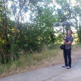 """Guillaume Le Dû avec son """"parapluie"""" de micros"""