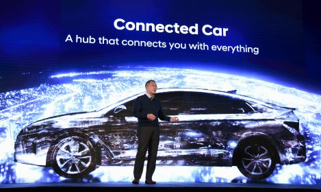LAS VEGAS, NV - JANUARY 04: Hyundai Motor Co. Vice Chairman Euisun Chung speaks during a press event for CES 2017 at the Mandalay Bay Convention Center on January 4, 2017 in Las Vegas, Nevada. CES, the world's largest annual consumer technology trade show, runs from January 5-8 and is expected to feature 3,800 exhibitors showing off their latest products and services to more than 165,000 attendees. Ethan Miller/Getty Images/AFP
