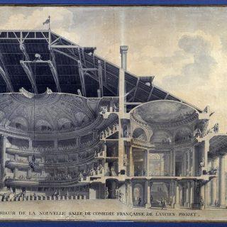 """Architecture : """"Vue de l'interieur de la nouvelle salle de la Comedie Francaise de l'Ancien Projet"""" Actuel Theatre de l'Odeon. Projet a l'aquarelle de Marie Joseph Peyre (1730-1785) et Charles de Wailly (1729-1798). 18eme siecle Paris, musee Carnavalet"""