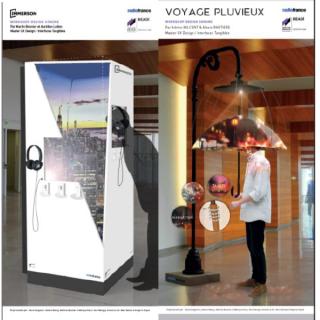 Les quatre projets finalistes : Audiopus, Voyage pluvieux, Immersion dans la vile et Tape la taupe